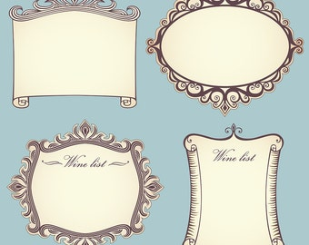 Collection of 4 vintage parchment labels with swirly frames, Clip-art Instant Digital Download