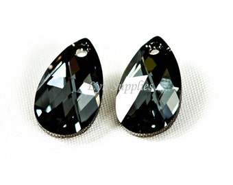 16mm 6106 SILVER NIGHT Swarovski Crystal Teardrop Pendant 2pcs or 10pcs