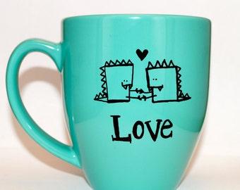 Hand Drawn Dinosaur Love Mug (Customizable)