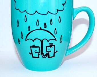 Hand Drawn Umbrella & Rain Mug (Customizable)