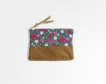 Quilted Floral Vintage Fabric & Repurposed Suede 8 Inch Everyday Zipper Pouch