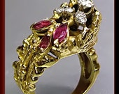Antique Vintage 1960's 18K Yellow Gold Ruby and Diamond Cocktail Ring