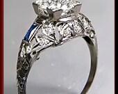 Antique Vintage Art Deco Platinum Filigree Diamond Engagement Ring