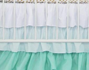 Mint Gradient Ombre Ruffle Crib Skirt