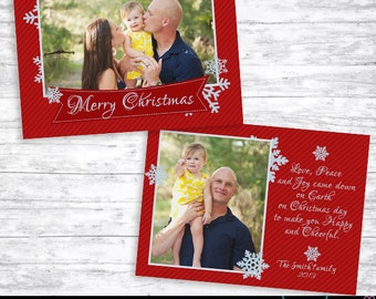 Christmas Card Template 004 - Holiday Photo Card - Photoshop Template