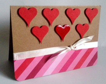 Handmade luxury glossy Heart eco friendly recycled 'Happy valentines' or 'thank you' card with envelope