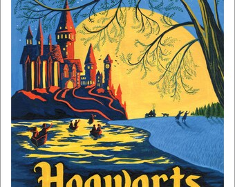 Hogwarts at Night Giclee