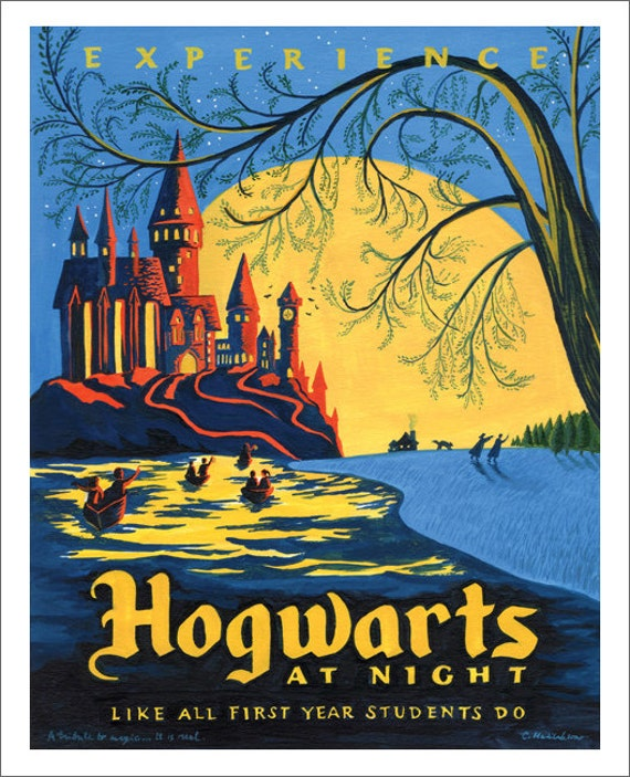 Hogwarts at Night Print