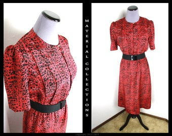 Vintage 40s style shirtwaist dress •  red black abstract day dress • rockabilly • pinup • 40s 50s style • retro • artsy • preppy • pullover