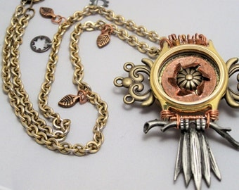 Steampunk Art Jewelry Necklace - Perched and Watching