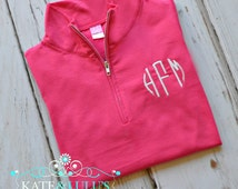 Monogrammed quater zip pull over - Woman's Monogrammed Pull Over - Monogrammed Gift - Birthday Gift
