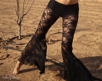 Tribal belly dance, flared pants in black flower lace