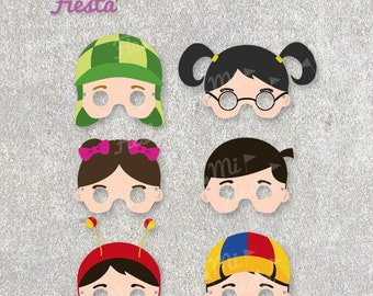 El Chavo del ocho Inspired set Masks, Chaves, Chapulin, Chilindrina Chiquinha, Quico, Popis, Ñoño, Printable birthday, Instant Digital File