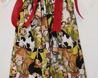 "Pillow Case Dress & Bow: ""Christmas Crazy Cow"" Red-Green-Cowprint Size 4T"