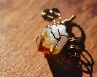 Citrine Pendant Rough Gemstone Reversible Wire Wrapped One-of-A-Kind November Birthstone