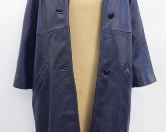 Vintage 1960's Navy Blue Leather Coat/Free U.S. Shipping