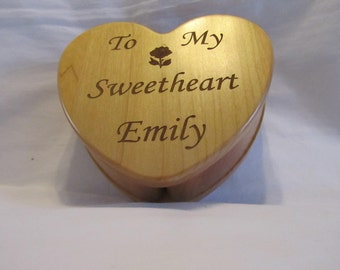 Personalized Heart Keepsake Box Custom Engraved - My Sweetheart
