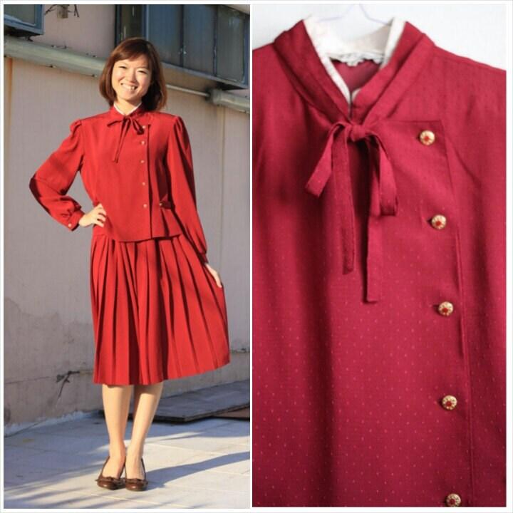 clearance sale vintage dress 1970 burgundy dress