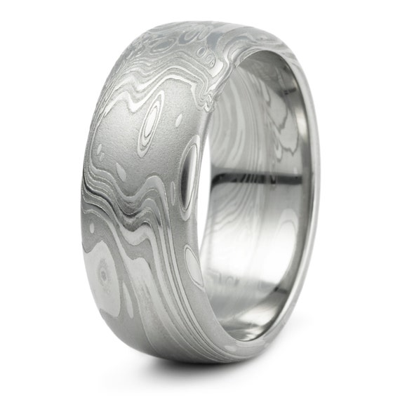 damascus steel domed wedding ring men39s unique organic With damascus mens wedding ring