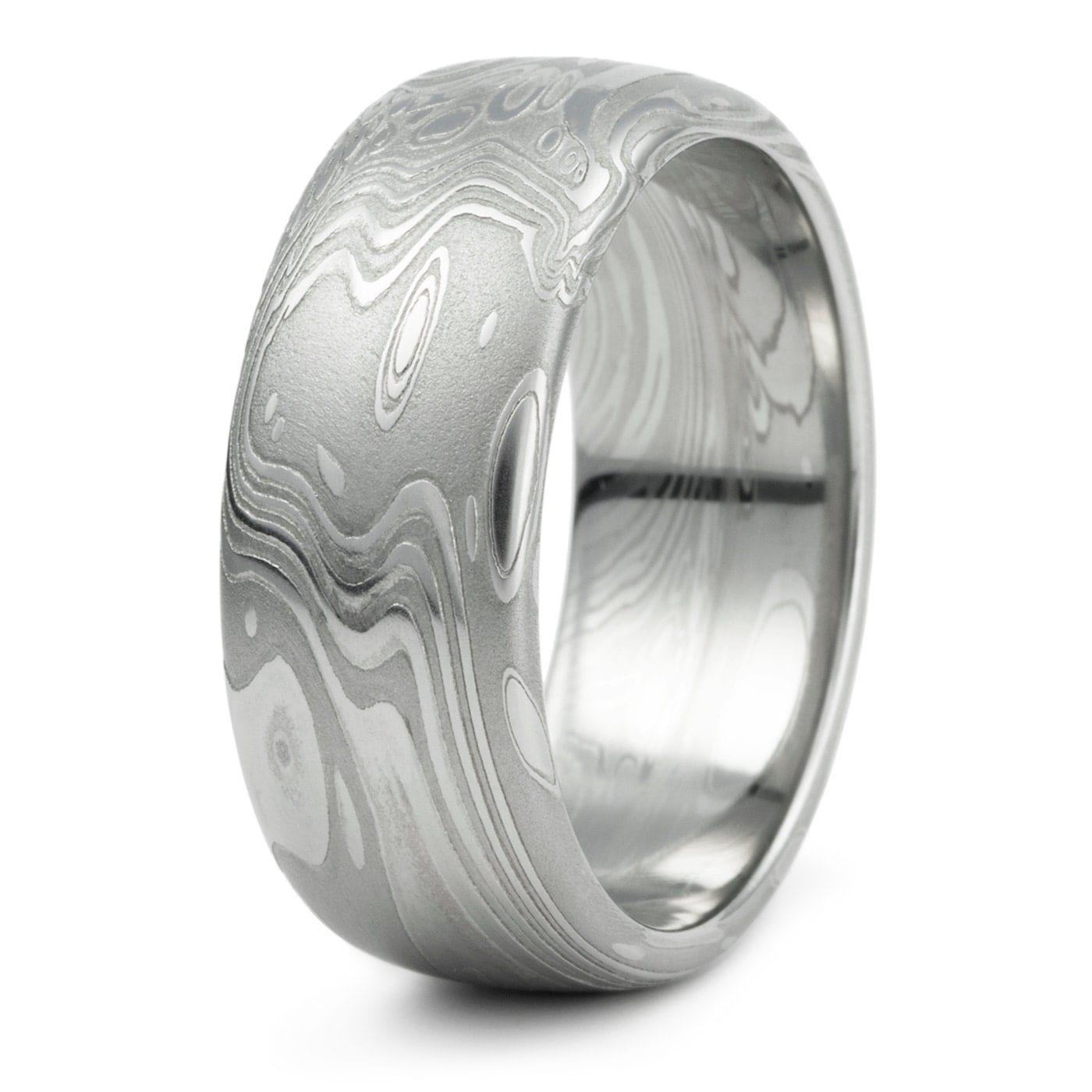 Damascus Steel Domed Wedding Ring Men s Unique Organic