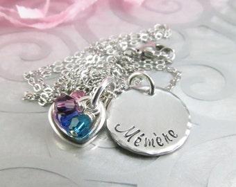 Mémère Necklace Hand Stamped - Grandma Jewelry - Personalized Grandma Necklace - Birthstone Jewelry - Aluminum Pendant Abuelita Nonna