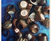 Incrustation de Shell en bois spirale fleur Yin Yang anneaux plage surfeur terre tribale Hippy Boho naturelles