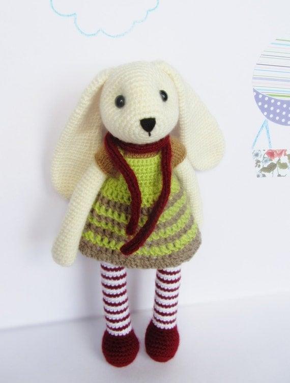 Amigurumi Bunny Ears : Amigurumi rabbit / cute crochet dressed bunny / long ears