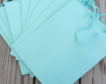 10 Pack 8x4x10 Turquoise Gift Bags Heavy-Weight Paper