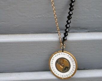 Upcycled necklace - swarovski - vintage watch dial