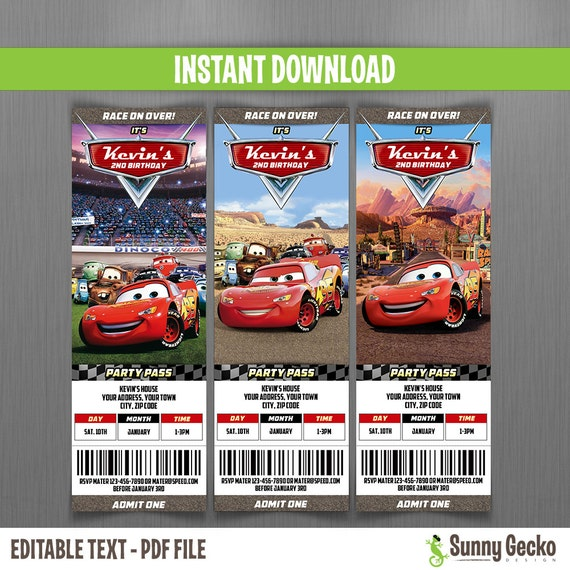 Disney Cars Birthday Ticket Invitations Instant Download And