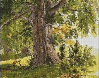 "Cross stitch pattern PDF ""The oak lit by the sun"""