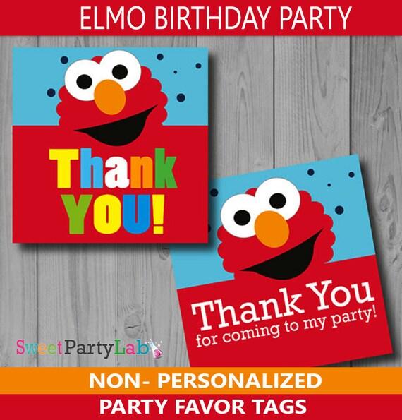 Elmo Printable Thank You TagsElmo Birthday Tags By Partymazing
