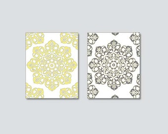 Yellow Gray Art INSTANT DOWNLOAD,Set of Two,  Yellow Gray Wall Art, Modern Geometric, Yellow Gray Decor, Yellow Grey Wall Art 8x10