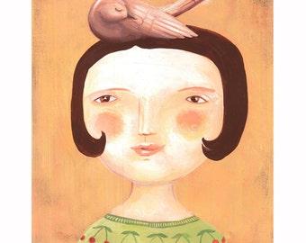 Cherrygirl, Print of my original illustration,  21x29,7 cm. Decorative Art Illustration Girl Bird Fairytale Love Print Yellow