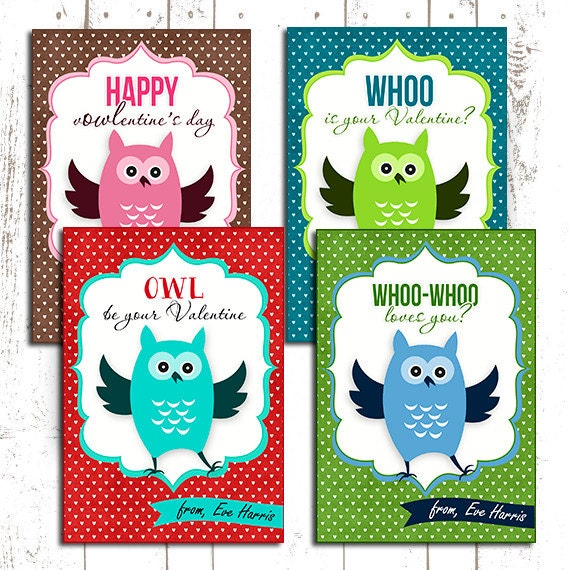 50% OFF. Owl Valentines day cards kids valentine Card kids