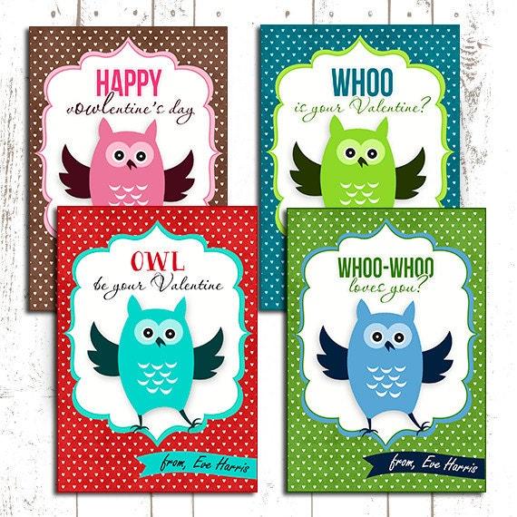 50 OFF Owl Valentines day cards kids valentine Card kids – Valentines Cards for Boys