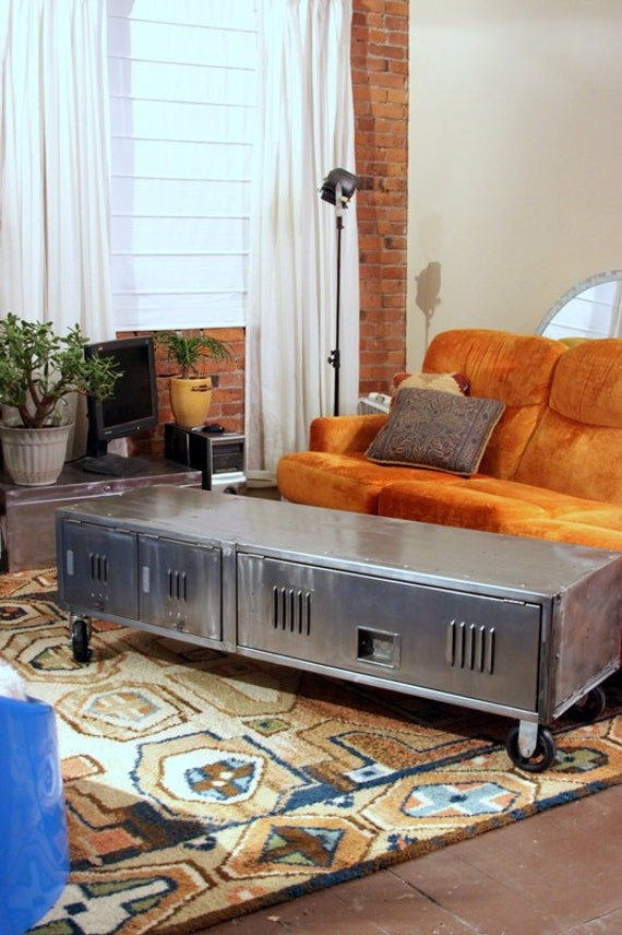 Craft Storage Ideas: ArtspaceIndustrial (Etsy Seller) Re-Purposed Vintage Locker Coffee Table (image)