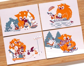Best Friends Pack - postcards 4 children's illustrations with a girl and imaginary friends. Colours - orange, blue, burgundy,pink
