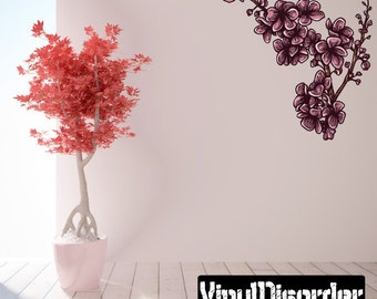 Floral Flower Wall Decal - Wall Fabric - Vinyl Decal - Removable and Reusable - FloralFlowerUScolor024ET