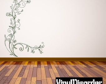 Floral Vine Wall Decal - Wall Fabric - Vinyl Decal - Removable and Reusable - FloralVineUScolor005ET