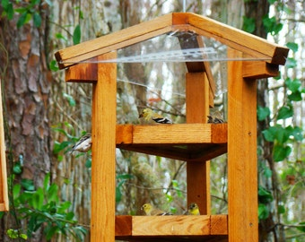 Large bird feeders - fly through style cedar wood bird feeders w/ multiple bird feeding levels - dispense sunflower seed, peaunuts, or both