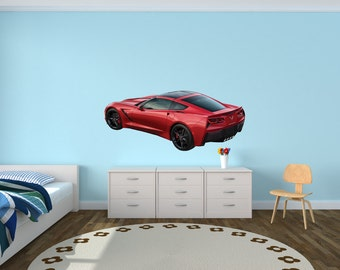 Sports Car Wall Decal Corvette Wall Decals Car Stickers Red Offset Corvette