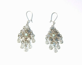 80s Delicate IntricateYemenite MESH and Turquoise and Silver Earrings 935 Silver