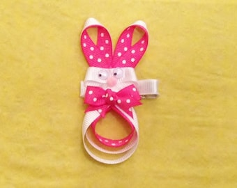 Easter Bunny Hair Bow - Easter Bunny Hair Clip - Bunny Ribbon Sculpture - Rabbit Hair Clip