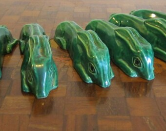 ANTIQUE vintage 6 art deco French ceramic knife rest rests figural bunny rabbit