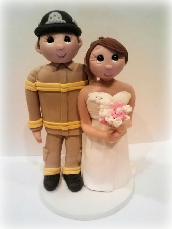 fireman and bride wedding cake toppers firefighter wedding cake topper 14268