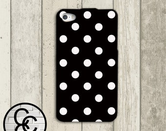 Black with White Polka Dots Custom iPhone Case for iPhone 4 and iPhone 5 iPhone 6 and iPhone 6 Plus