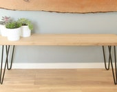Bench or end of bed in solid oak and stell hairpin legs