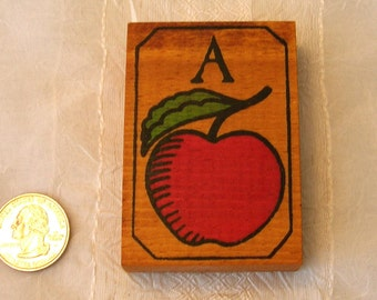 SALE Vintage A is for Apple - wood