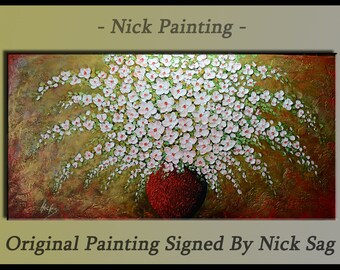 "Floral art Large painting White abstract flowers Heavy palette knife Impasto - Spring Bouquet - By Nick Sag 48"" x 24"""